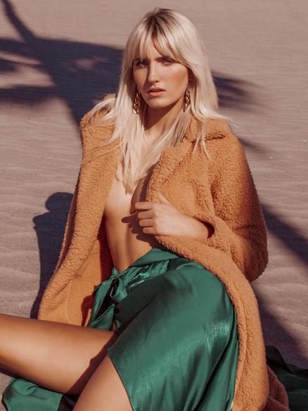 Tall blonde fashion swim model